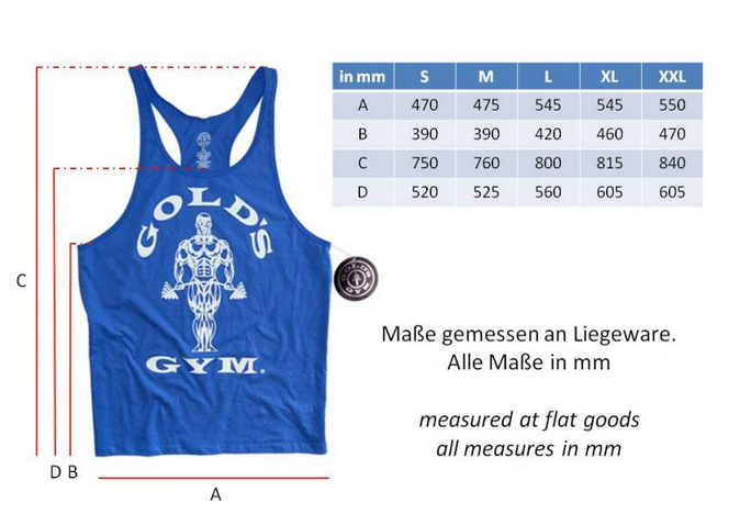 g tanktops von golds gym royal groessentabelle